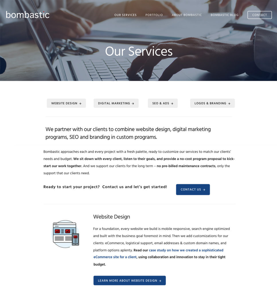 Bombastic Services page