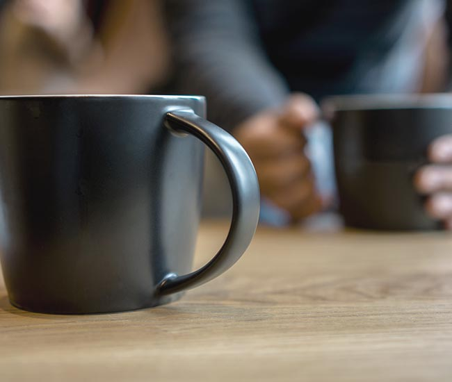collaborating over a cup of coffee