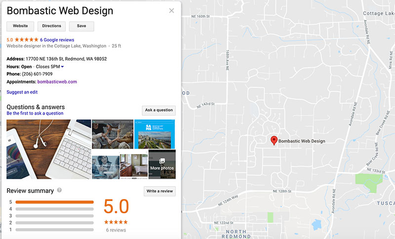 Bombastic's Google My Business profile results