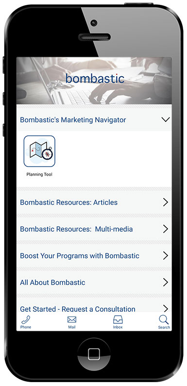 Screen shot of Mobile App